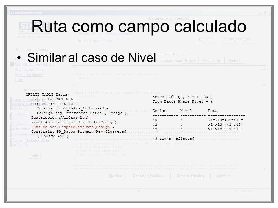 Ruta como campo calculado Similar al caso de Nivel CREATE TABLE Datos( Código Int NOT NULL, CódigoPadre Int NULL Constraint FK_Datos_CódigoPadre Forei