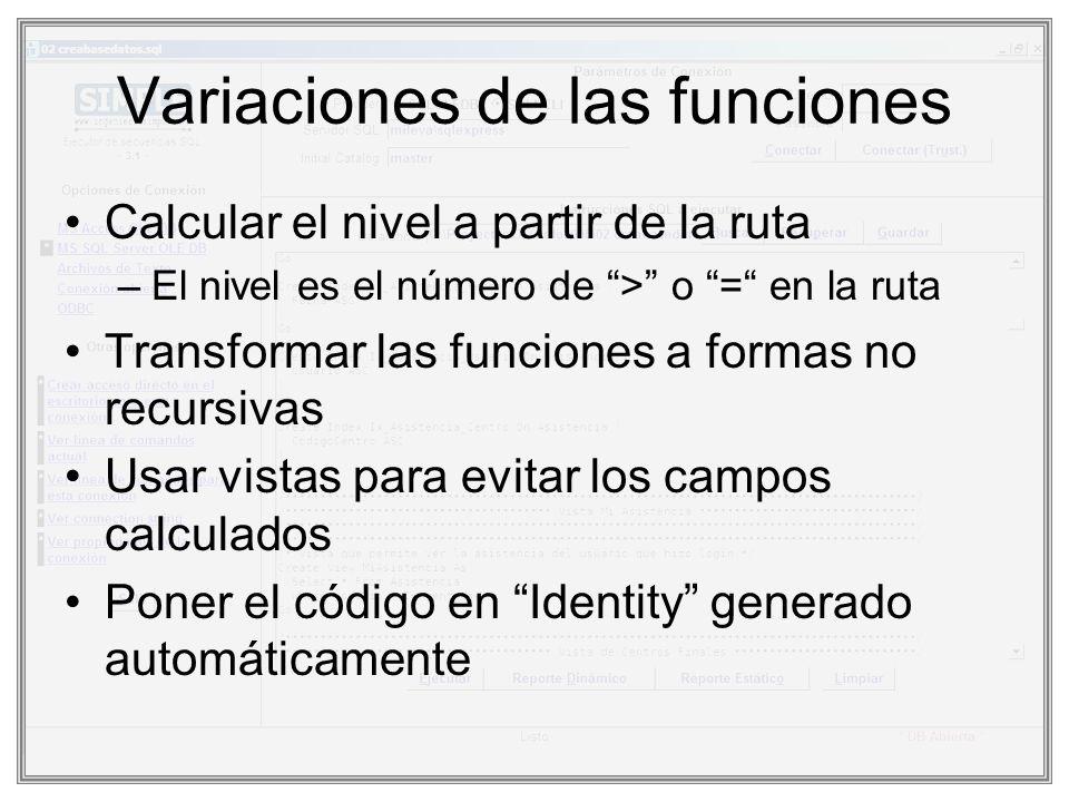 Variaciones de las funciones Calcular el nivel a partir de la ruta –El nivel es el número de > o = en la ruta Transformar las funciones a formas no re