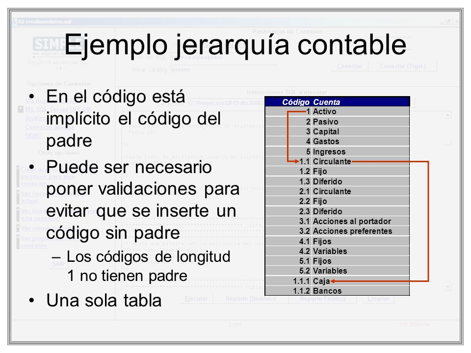 Ejemplo jerarquía contable En el código está implícito el código del padre Puede ser necesario poner validaciones para evitar que se inserte un código