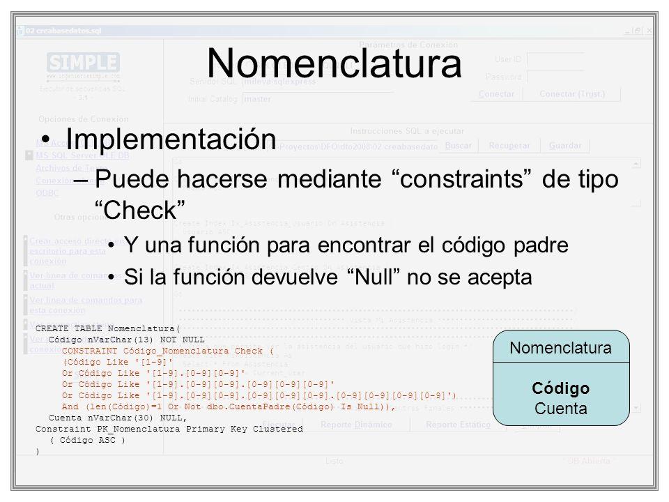 Función para chequeo CuentaPadre(@Código) –Encuentra la cuenta padre de @Código –Si no hay devuelve Null CREATE FUNCTION CuentaPadre ( @Código nVarChar(13) ) RETURNS nVarChar(13) AS BEGIN DECLARE @Resu nVarChar(13) Set @Resu = Null If CharIndex( . ,@Código) > 0 Begin Declare @PosiblePadre nVarChar(13) Set @PosiblePadre = RTrim(@Código) While Right(@PosiblePadre,1) <> . Set @PosiblePadre = Left(@PosiblePadre,Len(@PosiblePadre)-1) Select @Resu = Código From Nomenclatura Where Código = @PosiblePadre End RETURN @Resu END