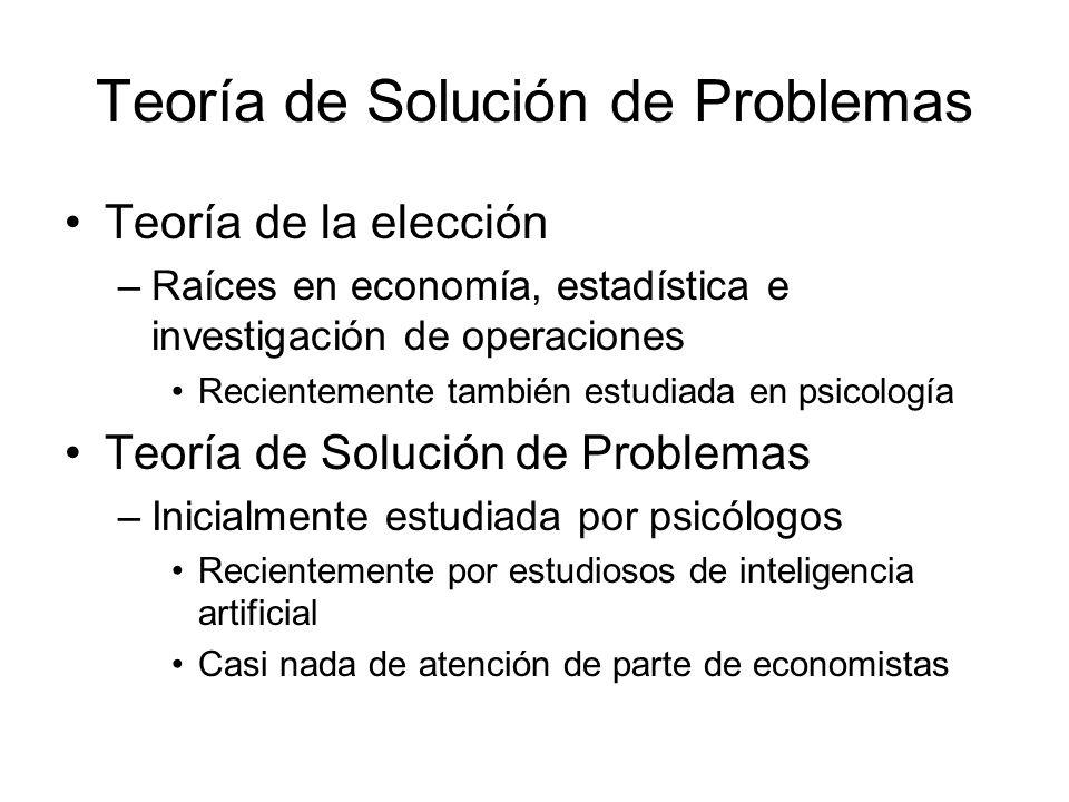 Teoría de Solución de Problemas Teoría de la elección –Raíces en economía, estadística e investigación de operaciones Recientemente también estudiada