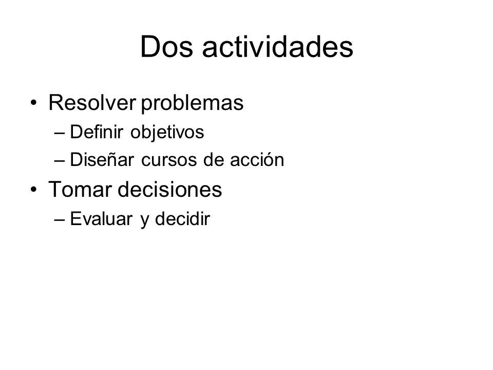 Dos actividades Resolver problemas –Definir objetivos –Diseñar cursos de acción Tomar decisiones –Evaluar y decidir