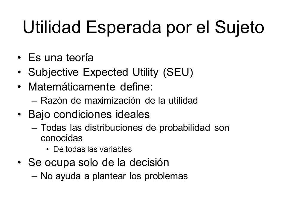 Utilidad Esperada por el Sujeto Es una teoría Subjective Expected Utility (SEU) Matemáticamente define: –Razón de maximización de la utilidad Bajo con