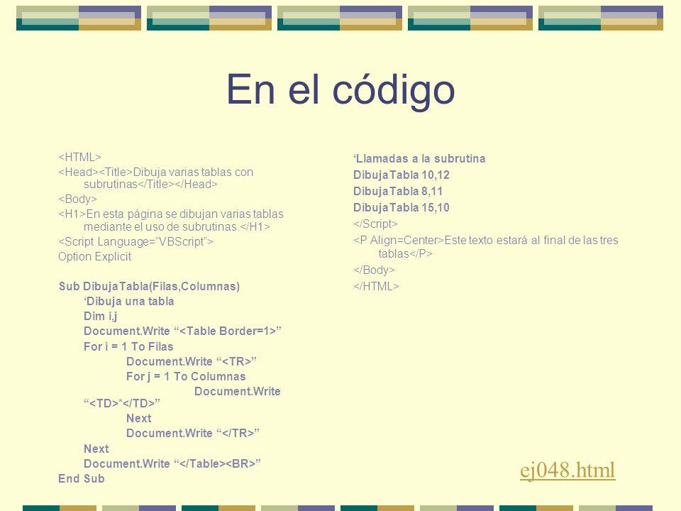 En el código Dibuja varias tablas con subrutinas En esta página se dibujan varias tablas mediante el uso de subrutinas.