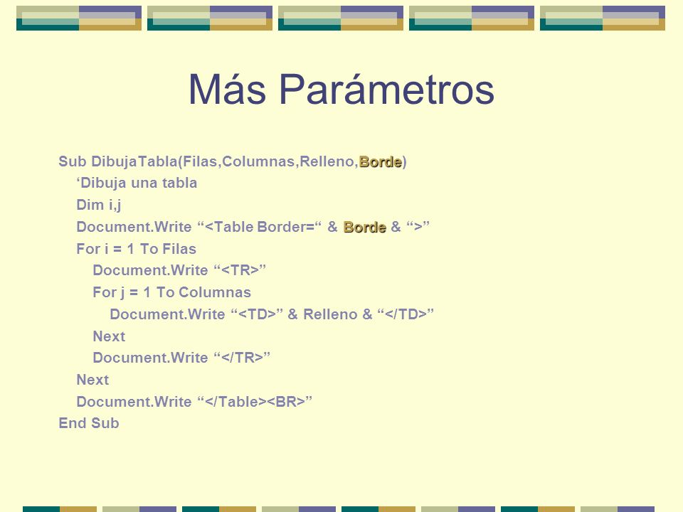 Más Parámetros Borde Sub DibujaTabla(Filas,Columnas,Relleno,Borde) Dibuja una tabla Dim i,j Borde Document.Write For i = 1 To Filas Document.Write For j = 1 To Columnas Document.Write & Relleno & Next Document.Write Next Document.Write End Sub
