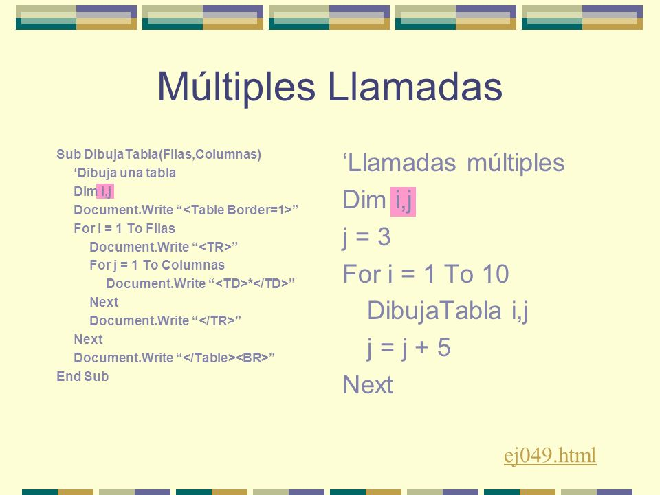 Múltiples Llamadas Sub DibujaTabla(Filas,Columnas) Dibuja una tabla Dim i,j Document.Write For i = 1 To Filas Document.Write For j = 1 To Columnas Document.Write * Next Document.Write Next Document.Write End Sub Llamadas múltiples Dim i,j j = 3 For i = 1 To 10 DibujaTabla i,j j = j + 5 Next ej049.html
