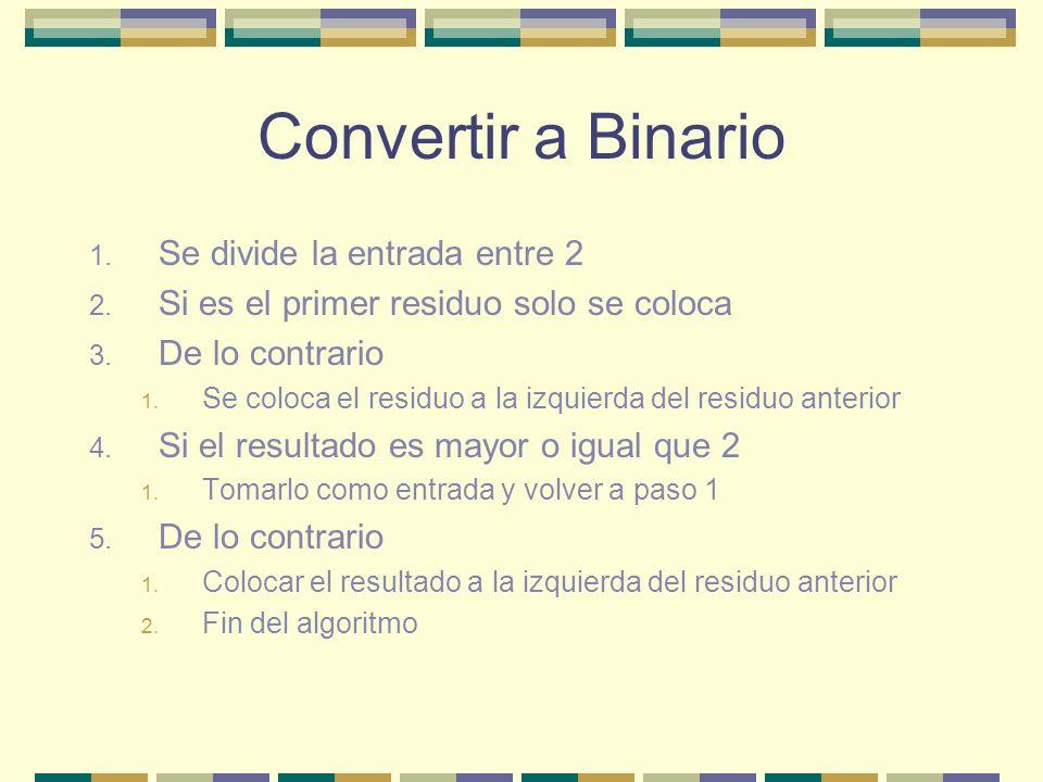 Convertir a Binario 1. Se divide la entrada entre 2 2.