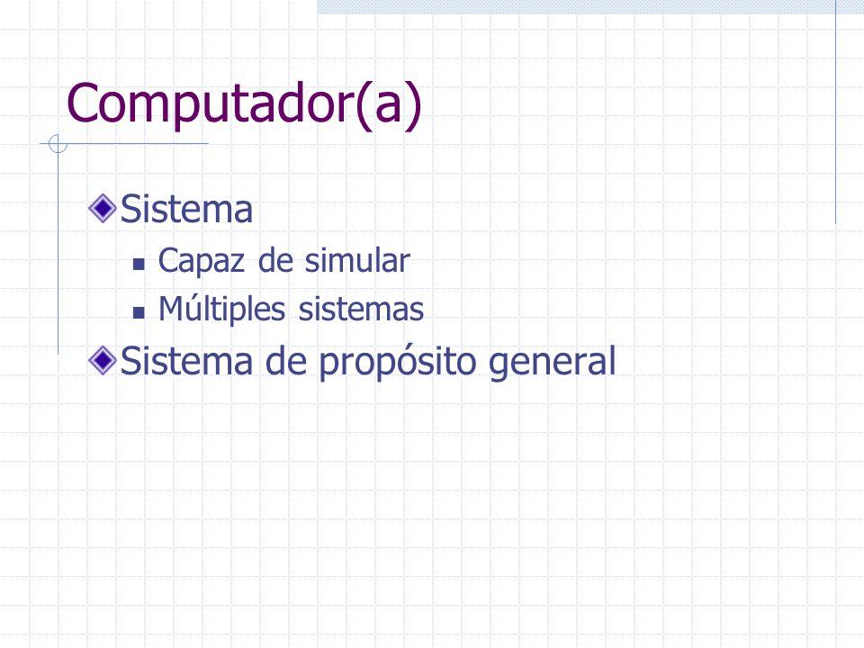Computador(a) Sistema Capaz de simular Múltiples sistemas Sistema de propósito general