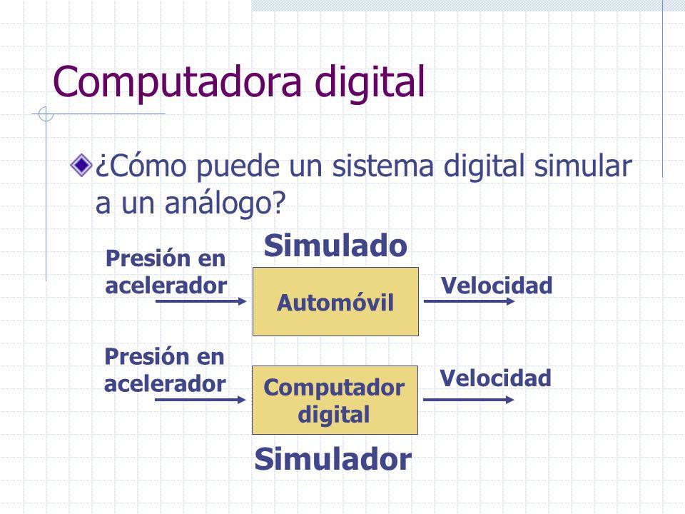 Computadora digital ¿Cómo puede un sistema digital simular a un análogo? Automóvil Presión en acelerador Velocidad Computador digital Presión en acele