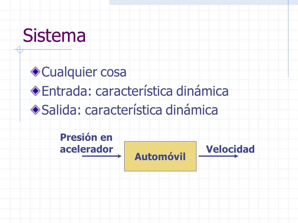 Sistema Cualquier cosa Entrada: característica dinámica Salida: característica dinámica Automóvil Presión en acelerador Velocidad