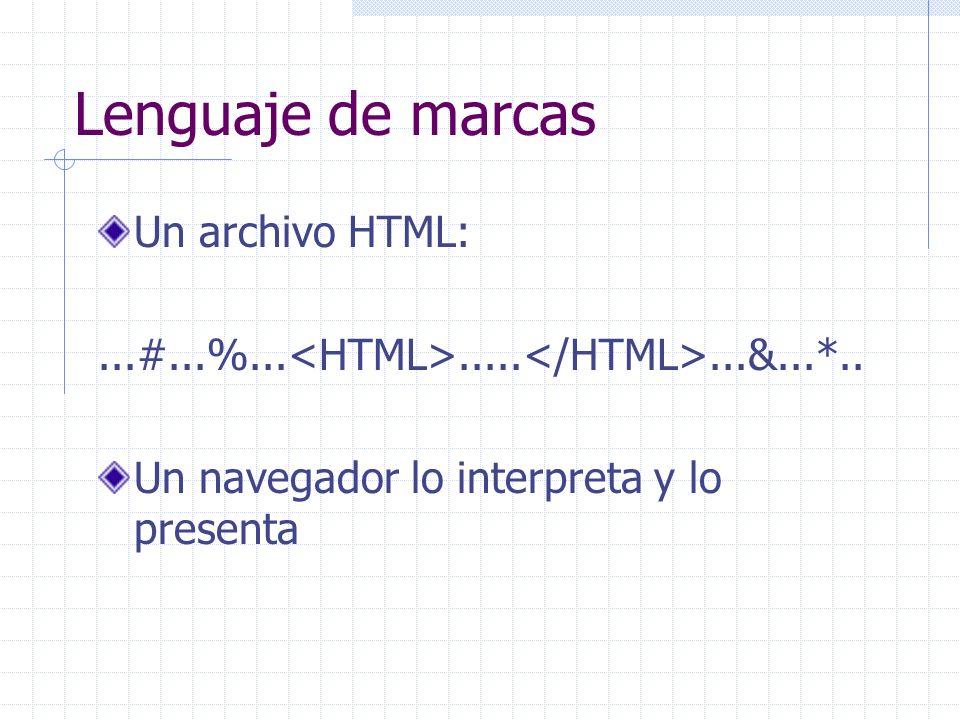 Lenguaje de marcas Un archivo HTML:...#...%...........&...*.. Un navegador lo interpreta y lo presenta