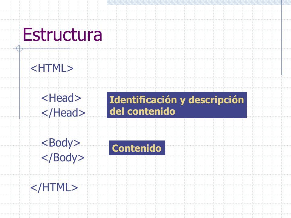 Estructura Identificación y descripción del contenido Contenido