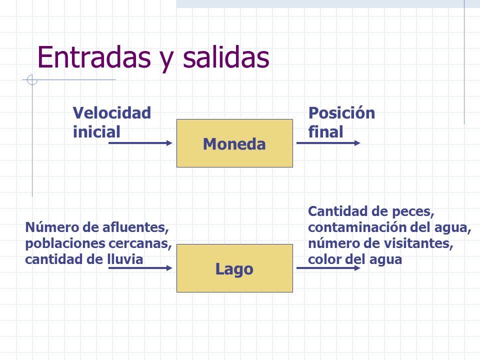 Entradas y salidas Moneda Velocidad inicial Posición final Lago Número de afluentes, poblaciones cercanas, cantidad de lluvia Cantidad de peces, conta