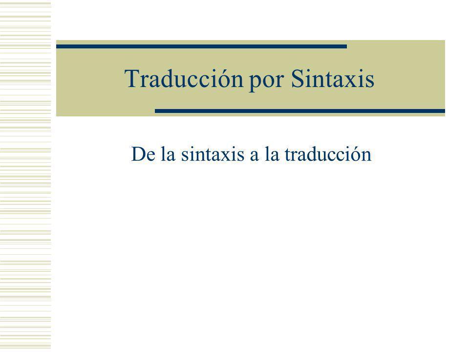 Traducción por Sintaxis De la sintaxis a la traducción