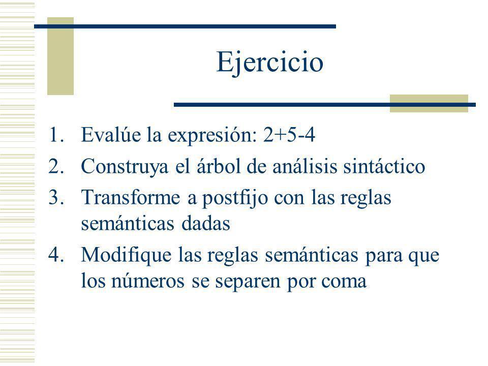 Ejercicio 1.Evalúe la expresión: 2+5-4 2.Construya el árbol de análisis sintáctico 3.Transforme a postfijo con las reglas semánticas dadas 4.Modifique