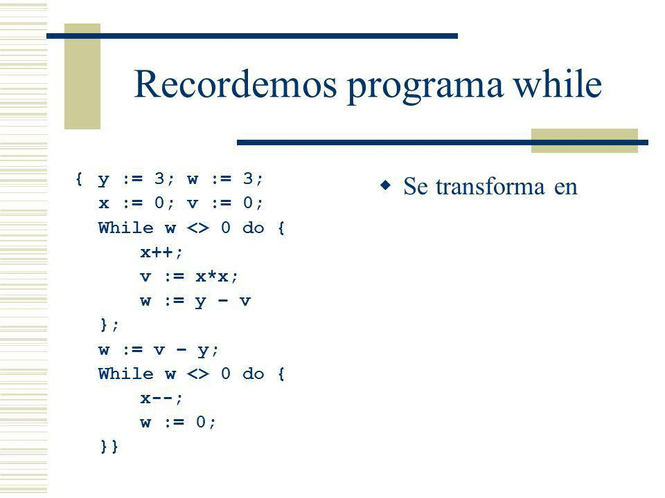 Recordemos programa while {y := 3; w := 3; x := 0; v := 0; While w <> 0 do { x++; v := x*x; w := y – v }; w := v – y; While w <> 0 do { x--; w := 0; }