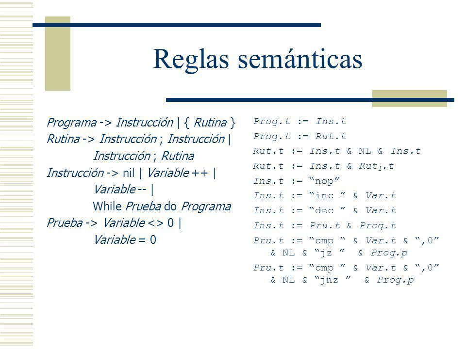 Reglas semánticas Programa -> Instrucción | { Rutina } Rutina -> Instrucción ; Instrucción | Instrucción ; Rutina Instrucción -> nil | Variable ++ | V