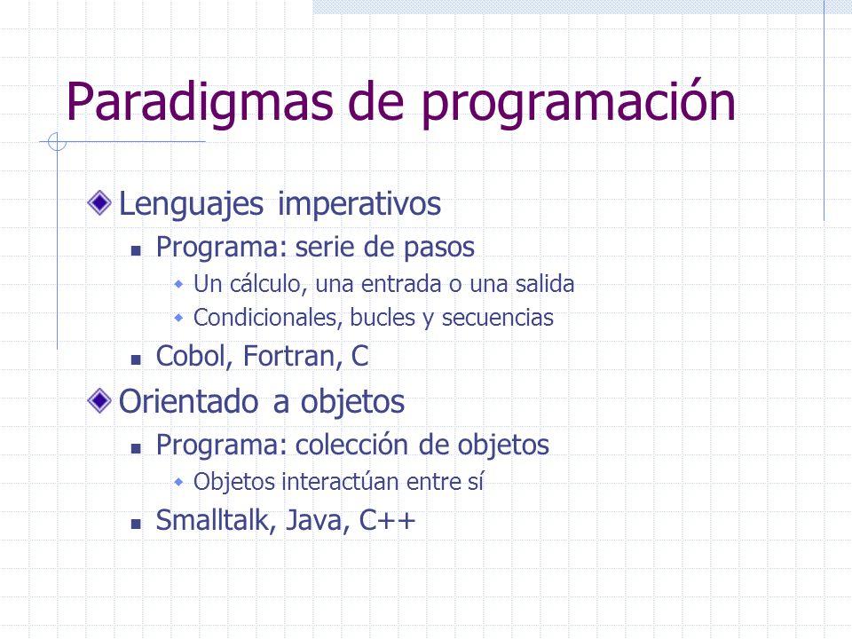 Paradigmas de programación Lenguajes imperativos Programa: serie de pasos Un cálculo, una entrada o una salida Condicionales, bucles y secuencias Cobo
