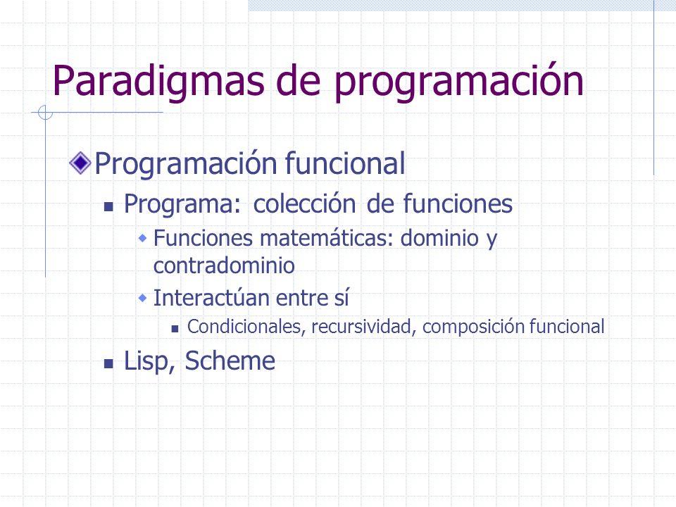 Paradigmas de programación Programación funcional Programa: colección de funciones Funciones matemáticas: dominio y contradominio Interactúan entre sí