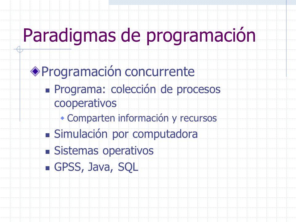 Paradigmas de programación Programación concurrente Programa: colección de procesos cooperativos Comparten información y recursos Simulación por compu