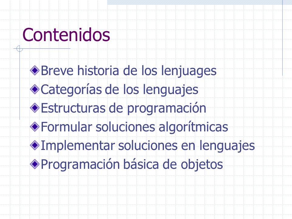 Contenidos Breve historia de los lenjuages Categorías de los lenguajes Estructuras de programación Formular soluciones algorítmicas Implementar soluci