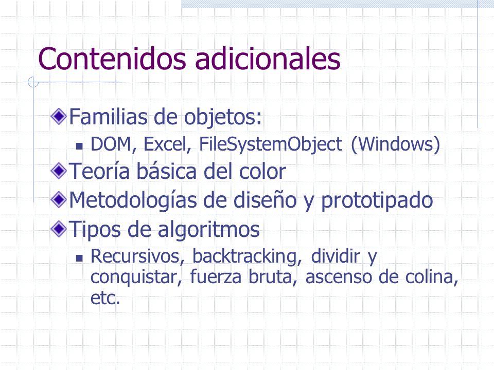 Contenidos adicionales Familias de objetos: DOM, Excel, FileSystemObject (Windows) Teoría básica del color Metodologías de diseño y prototipado Tipos