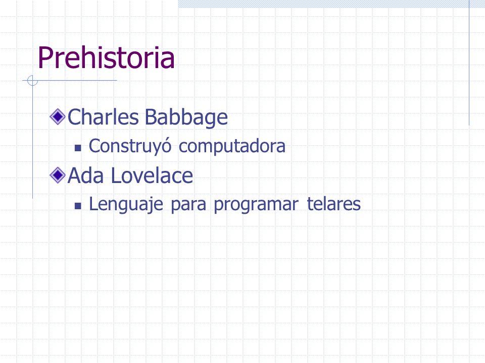 Prehistoria Charles Babbage Construyó computadora Ada Lovelace Lenguaje para programar telares