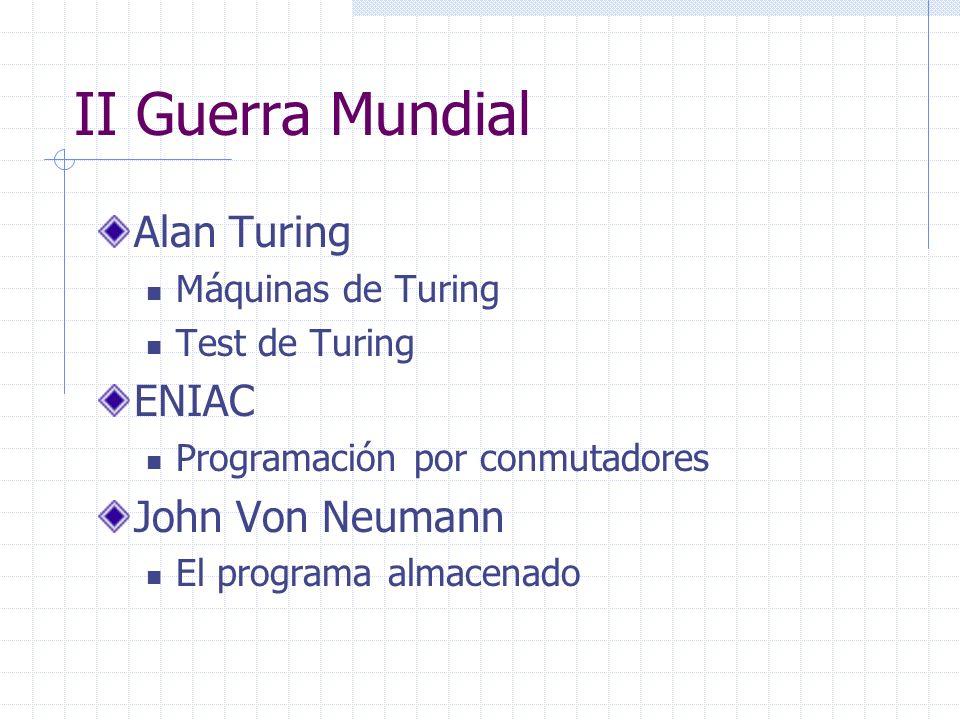 II Guerra Mundial Alan Turing Máquinas de Turing Test de Turing ENIAC Programación por conmutadores John Von Neumann El programa almacenado
