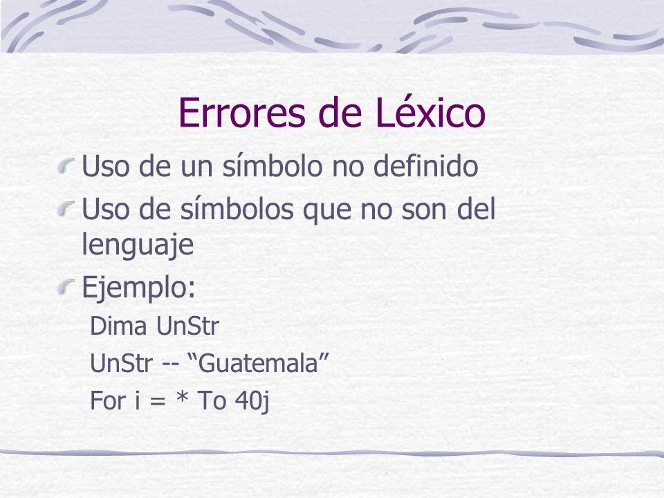 Errores de Sintáxis Uso de símbolos en lugares inadecuados Omisión del símbolo correcto Ejemplo: If A < Then A = 38**B Else B = B*4>A If