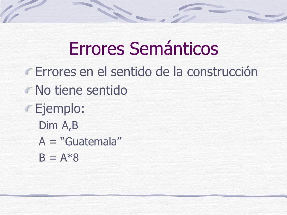 Errores Lógicos El programa no corresponde con lo que se quiere hacer Produce resultados ilógicos Ejemplo: Construír una tabla de 2x2 en cada celda de una de 2x2