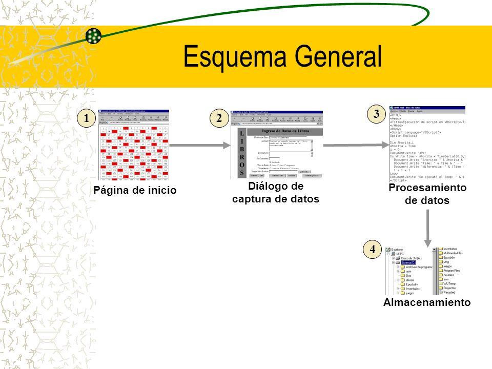 Esquema General Página de inicio Diálogo de captura de datos Procesamiento de datos 12 3 4 Almacenamiento