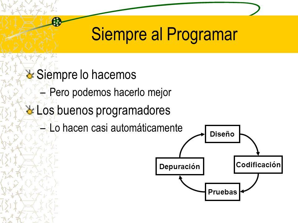 Diseño – Ciclo de Programación Planificar y visualizar el programa –Dibujarlo o esquematizarlo Diagramas de flujo Diagramas UML –Entender el proceso Algoritmo –El diseño es una guía Diseño Codificación Depuración Pruebas
