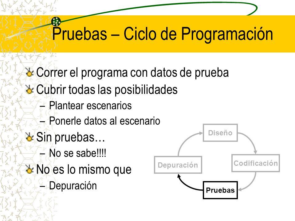 Pruebas – Ciclo de Programación Correr el programa con datos de prueba Cubrir todas las posibilidades –Plantear escenarios –Ponerle datos al escenario
