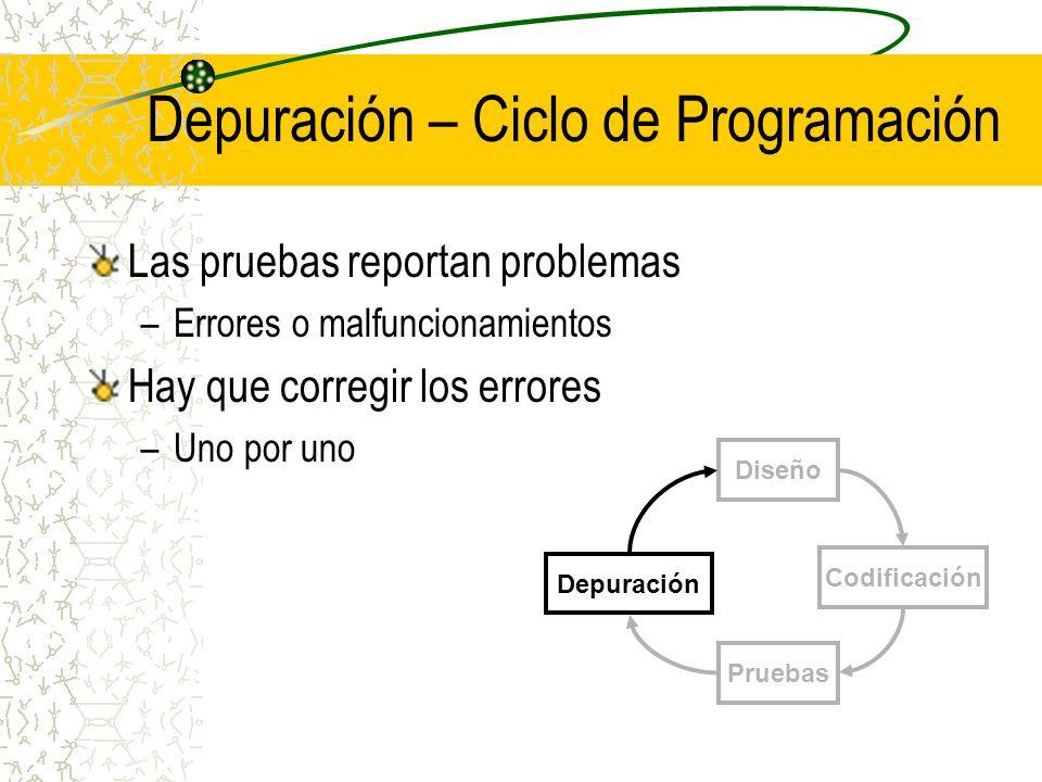 Depuración – Ciclo de Programación Las pruebas reportan problemas –Errores o malfuncionamientos Hay que corregir los errores –Uno por uno Diseño Codif