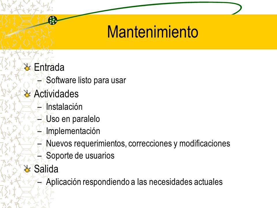 Mantenimiento Entrada –Software listo para usar Actividades –Instalación –Uso en paralelo –Implementación –Nuevos requerimientos, correcciones y modif