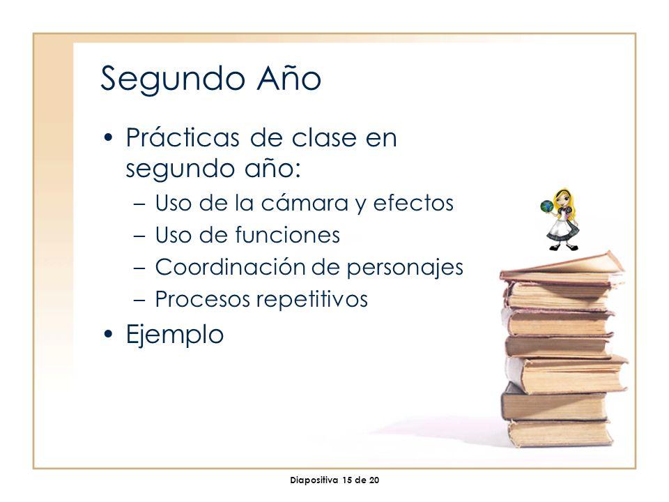 Diapositiva 15 de 20 Segundo Año Prácticas de clase en segundo año: –Uso de la cámara y efectos –Uso de funciones –Coordinación de personajes –Procesos repetitivos Ejemplo