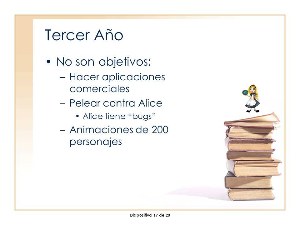 Diapositiva 17 de 20 Tercer Año No son objetivos: –Hacer aplicaciones comerciales –Pelear contra Alice Alice tiene bugs –Animaciones de 200 personajes