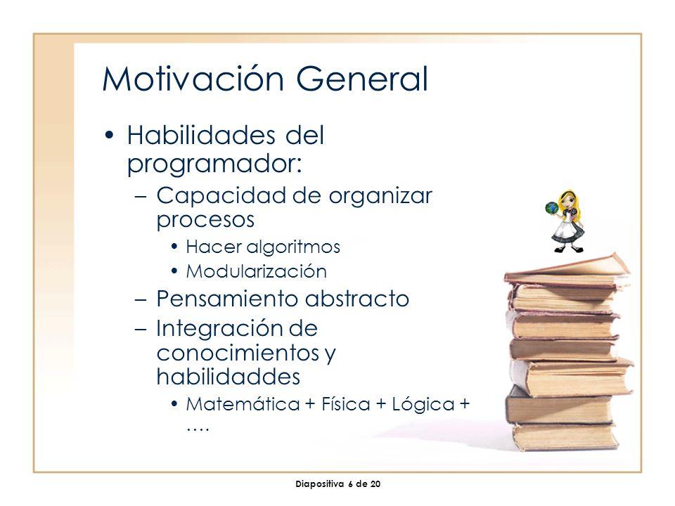 Diapositiva 6 de 20 Motivación General Habilidades del programador: –Capacidad de organizar procesos Hacer algoritmos Modularización –Pensamiento abstracto –Integración de conocimientos y habilidaddes Matemática + Física + Lógica + ….
