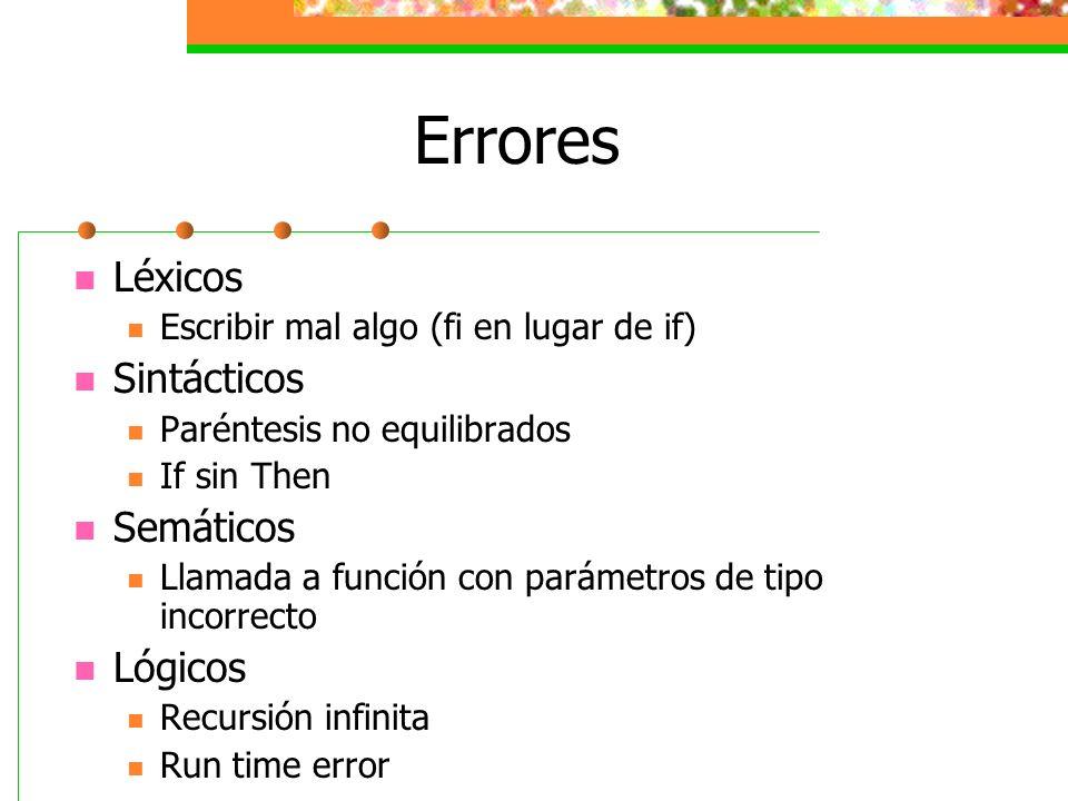 Errores Léxicos Escribir mal algo (fi en lugar de if) Sintácticos Paréntesis no equilibrados If sin Then Semáticos Llamada a función con parámetros de