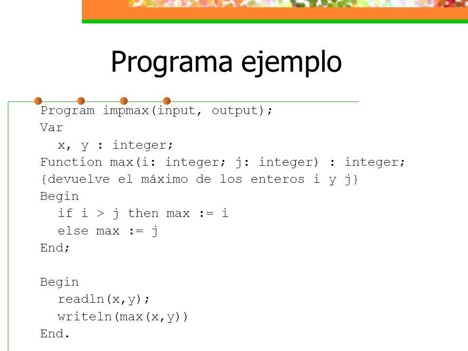 Programa ejemplo Program impmax(input, output); Var x, y : integer; Function max(i: integer; j: integer) : integer; {devuelve el máximo de los enteros