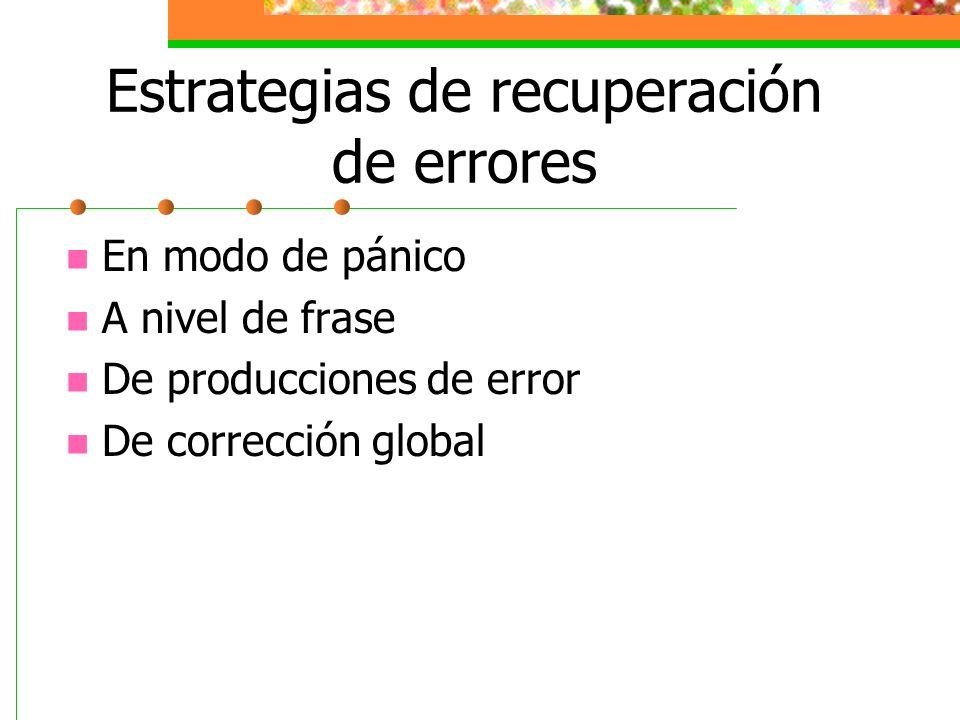 Estrategias de recuperación de errores En modo de pánico A nivel de frase De producciones de error De corrección global