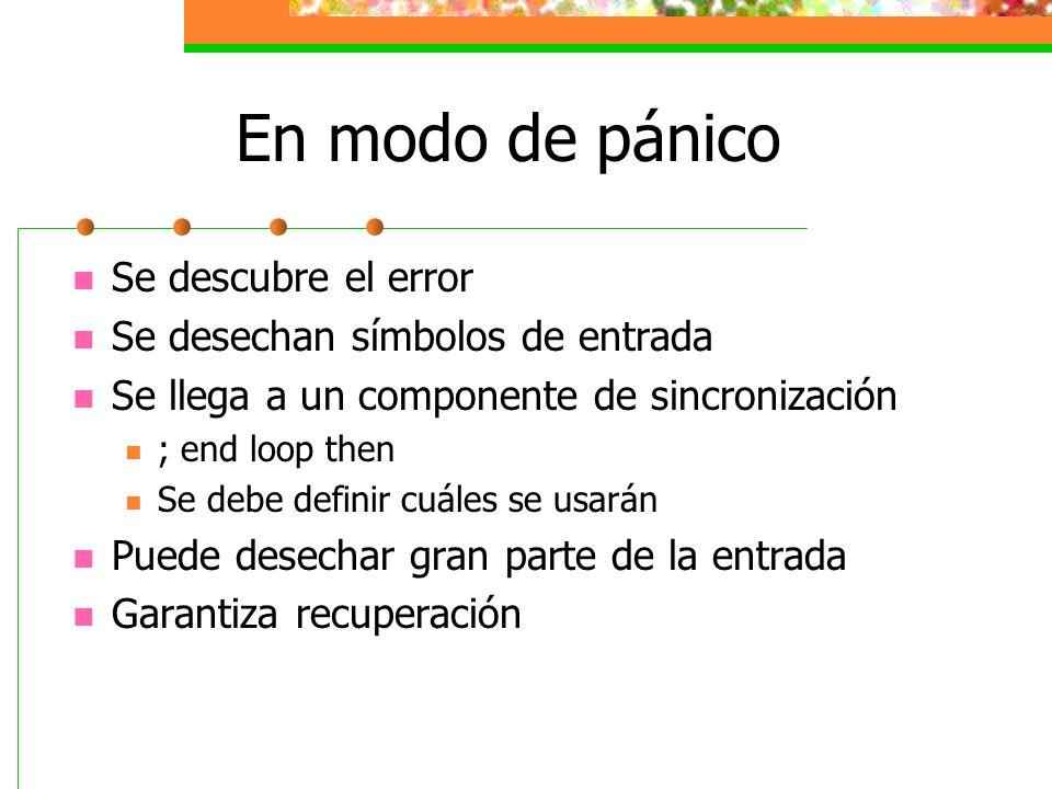 En modo de pánico Se descubre el error Se desechan símbolos de entrada Se llega a un componente de sincronización ; end loop then Se debe definir cuál