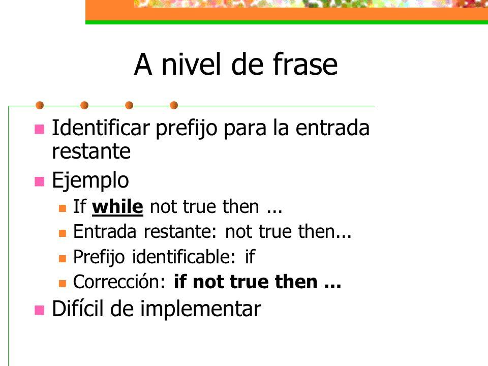 A nivel de frase Identificar prefijo para la entrada restante Ejemplo If while not true then... Entrada restante: not true then... Prefijo identificab