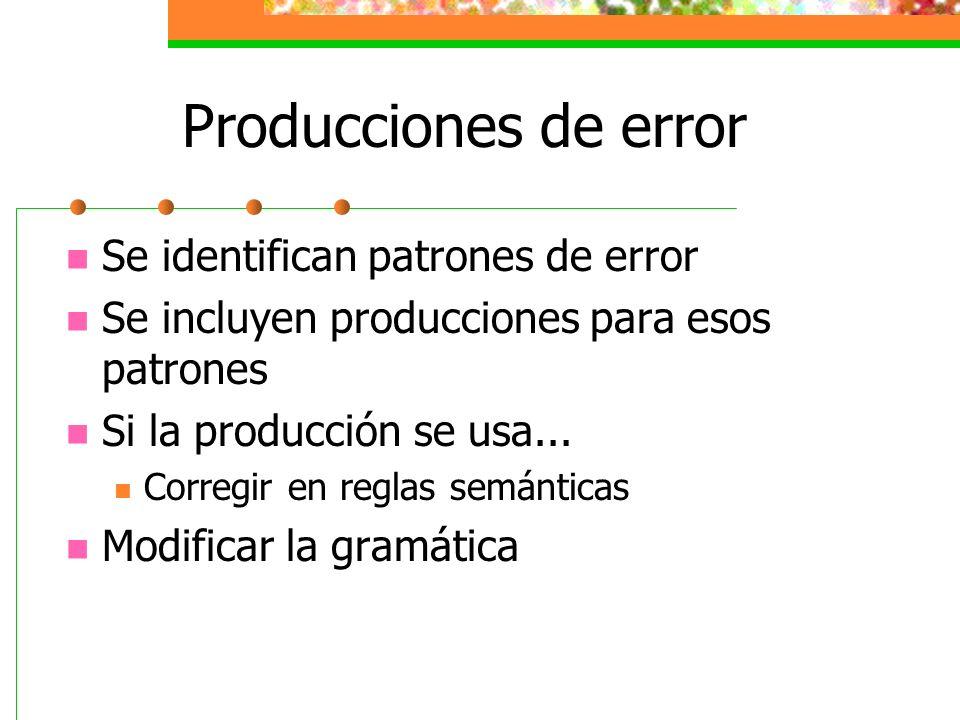Producciones de error Se identifican patrones de error Se incluyen producciones para esos patrones Si la producción se usa... Corregir en reglas semán
