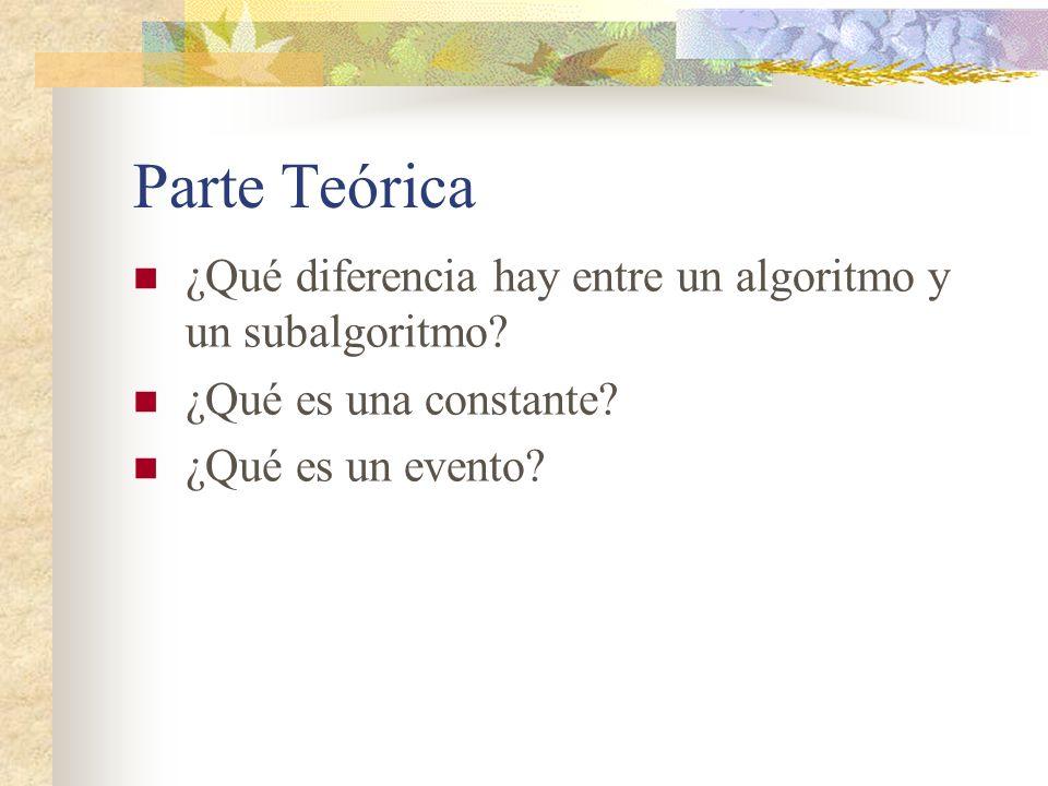 Parte Teórica ¿Qué diferencia hay entre un algoritmo y un subalgoritmo.