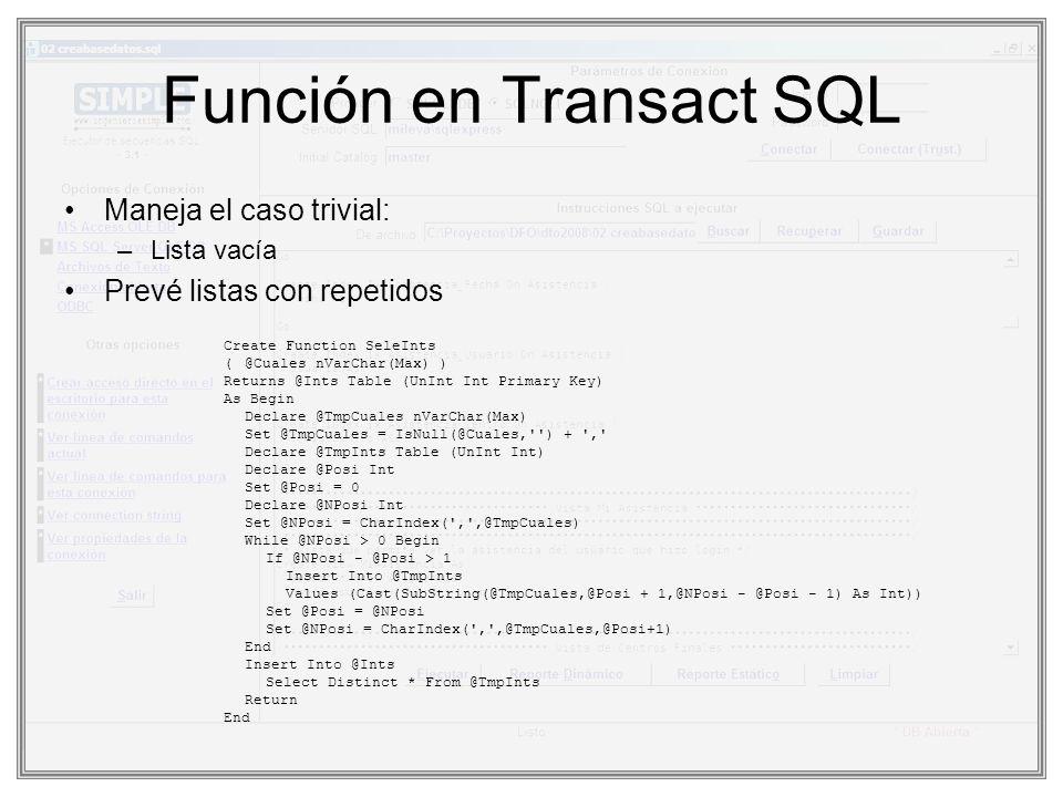 Función en Transact SQL Maneja el caso trivial: –Lista vacía Prevé listas con repetidos Create Function SeleInts (@Cuales nVarChar(Max) ) Returns @Int