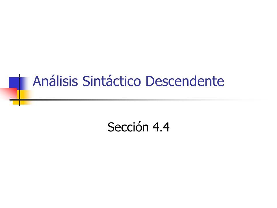 Análisis sintáctico por descenso recursivo Consíderese la gramática S => cAd A => ab   a Entrada w = cad Revisar las dos posibilidades de A