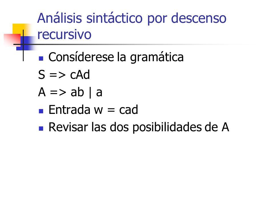 Análisis sintáctico por descenso recursivo Consíderese la gramática S => cAd A => ab | a Entrada w = cad Revisar las dos posibilidades de A