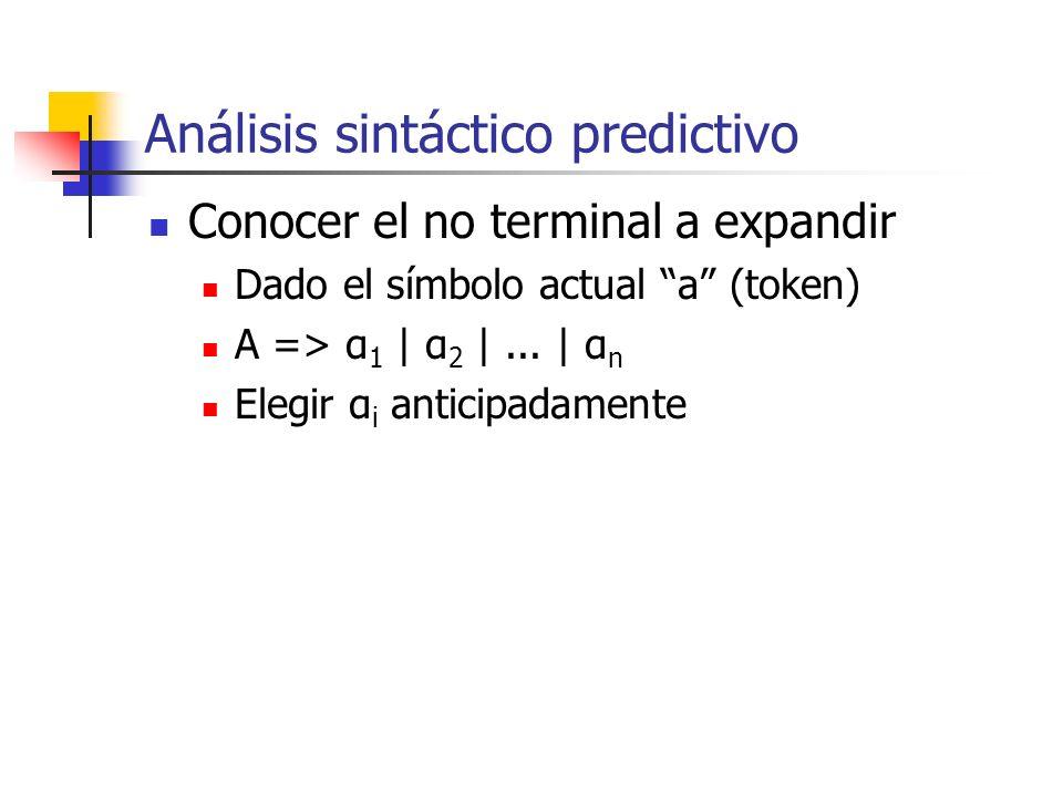Análisis sintáctico predictivo Conocer el no terminal a expandir Dado el símbolo actual a (token) A => α 1 | α 2 |... | α n Elegir α i anticipadamente