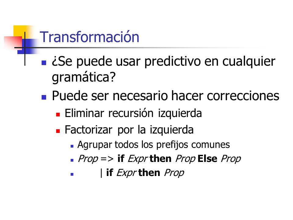 Transformación ¿Se puede usar predictivo en cualquier gramática? Puede ser necesario hacer correcciones Eliminar recursión izquierda Factorizar por la